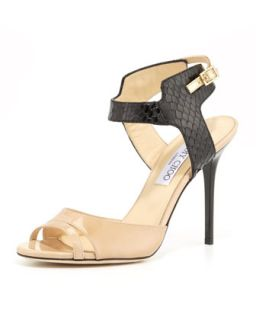 Marcia Snake & Patent Ankle Wrap Sandal, Nude/Black   Jimmy Choo