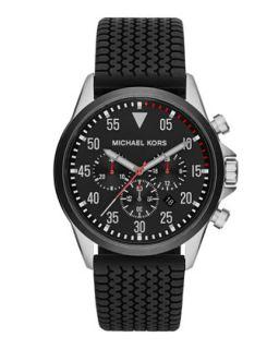 Mens Black Tire Tread Gage Chronograph Watch   Michael Kors   Black