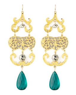Quartz & Jasper Chandelier Earrings   Devon Leigh   Teal