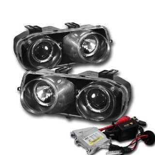 High Performance Xenon HID Acura Integra Halo Projector Headlights with Premium Ballast   Black with 8000K Crystal Blue HID Automotive