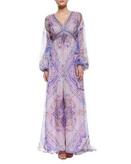 Womens Beaded Border Printed Caftan Maxi Dress   Emilio Pucci   Pavimento
