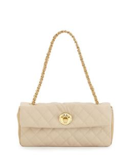 Borsa Quilted Faux Leather Crossbody Bag, Ivory/Beige   Love Moschino