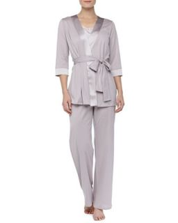 Womens Fernanda Long Pajama Pants, Rose Gray   Hanro   Rose gray (X LARGE)