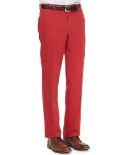 Mens Linen Cotton Chino Pants, Red   Incotex   Red (36)