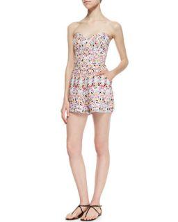 Womens Sutton Strapless Geometric Print Jump Suit, Pink   Parker   Pink ptrn