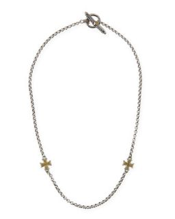 Gold Cross Station Necklace   Konstantino   Silver gold