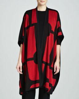 Womens Fiona Brocade Cardigan   Misook   Red multi(red/Blk (MEDIUM (10/12))