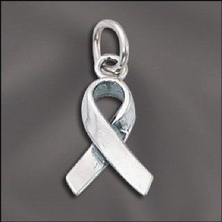 Sterling Silver 3D Cancer Awareness Ribbon Charm .925: Everything Else