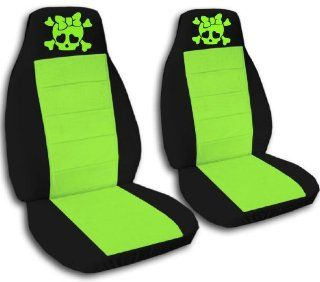 2 Black and Lime Green Girly Skull seat covers for a 2009 to 2011 Toyota Corolla. Side Airbag friendly.: Automotive