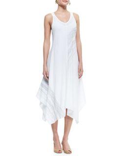 Sleeveless V Neck Asymmetric Dress, White, Womens   Eileen Fisher   White (1X