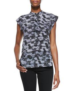 Womens Summer Storm Printed Silk Cap Sleeve Top   Rebecca Taylor   Black combo