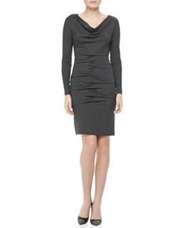 Womens Long Sleeve Cowl Neck Ruched Dress   Nicole Miller   Heather gray