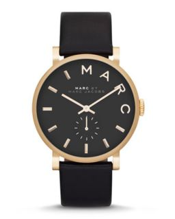 Baker Analog Watch with Leather Strap, Golden/Black   MARC by Marc Jacobs