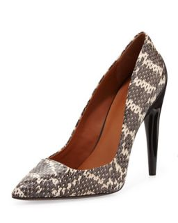 Cameron Snakeskin Pointy Toe Pump   Rebecca Minkoff   Black/White (38.5B/8.5B)