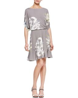 Womens Gathered Waist Printed Jersey Dress, Taupe/Multi   Piazza Sempione