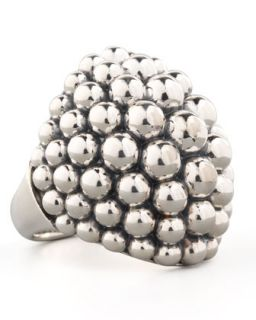 Large Sterling Silver Bold Caviar Dome Ring   Lagos   Silver (7)