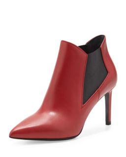 Paris Gored Pointy Toe Bootie, Red   Saint Laurent   Red (37.0B/7.0B)