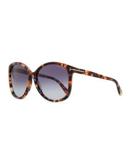 Alicia, Angled Round Sunglasses, Violet Havana   Tom Ford   Violet havana