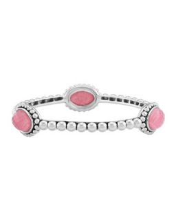 Silver Beaded Maya Rhodochrosite Medium Bangle   Lagos   Silver (MEDIUM)