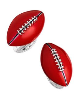 Mens Hand Painted Football Cuff Links, Red   Jan Leslie   Red
