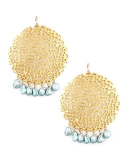 Pearl & Gold Plate Filigree Earrings   Devon Leigh   Gold