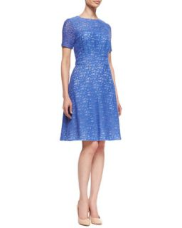 Womens Lace Fit and Flare Dress   Kay Unger New York   Periwinkle (16)