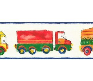 Wallpaper Border Kids and Children Color Drawings of Playschool Trucks