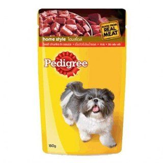 Pedigree Beef Chunks in Sauce Made From Real Meat Dog Food & Appetizer 150 G. Product of Thailand  Dry Pet Food