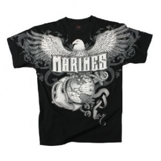"Rothco Vintage Black ""Marines"", Eagle, Globe and Anchor Print T Shirt: Clothing"