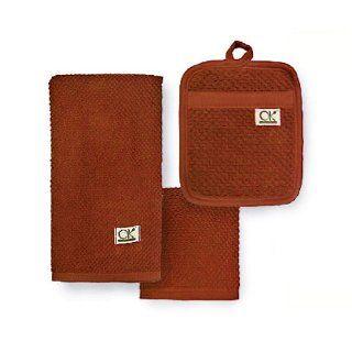 Ritz OK Organic Cotton 3 Piece Kitchen Towel and Pocket Mitt Set, Bark   Kitchen Linen Sets