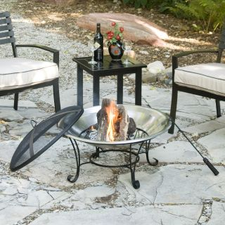 Naples 28 Inch Stainless Steel Fire Pit with Free Cover   Fire Pits