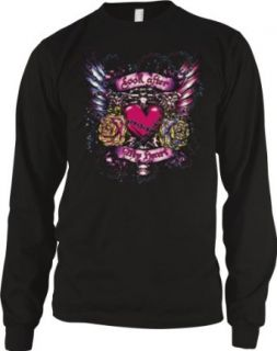 Look After My Heart Mens Tattoo Thermal Shirt, Heart with Flowers Wings And Chains Old School Love Tattoo Long Sleeve Thermal Clothing