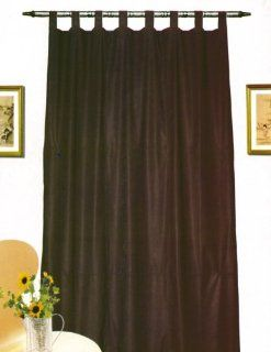 """Leather Looking Curtain Panel Chocolate Brown Measures 84"""" X 52""""   Window Treatment Panels"""