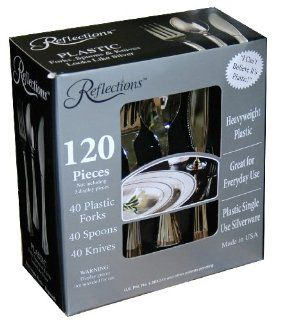 "Reflections ""Looks Like Silver"" Plastic Silverware 120 Piece Set 40 Plastic Forks, 40 Spoons, 40 Knives Health & Personal Care"