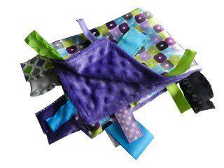 Baby Jack Blankets Boxy Violet Lime Satin Tab Lovey  Nursery Blankets  Baby