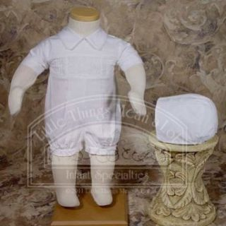 Baby Boys White Cotton Smocked Christening Baptism Outfit Set 3 12M: Infant And Toddler Christening Apparel: Clothing