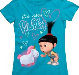 Despicable Me Fluffy Juniors Lightweight Turquoise T Shirt (XXL) Clothing