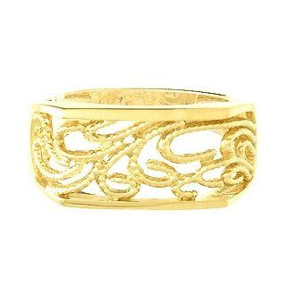 Gold Ring Beaded Scroll Rectangular Dome Ring Cut out: Million Charms: Jewelry