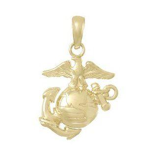 14k Gold USMC Charm, Extra small Marine Corps Symbol, Eagle, Globe, Anchor: Jewelry