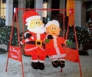 Mr. & Mrs. Claus Porch Swing Animated Christmas Inflatable   Holiday Figurines