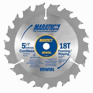 "Irwin 14027 Marathon 5 1/2"" x 18 Tooth Framing/Ripping Cordless Circular Saw Blades   Change Gears"