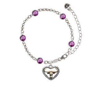 Gold Longhorn in Silver Rope Heart Emerald Fiona Bracelet: Delight Jewelry: Jewelry