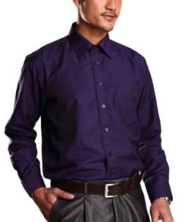 Mens Shirt Corrugated Purple Business Long Sleeved Shirts at  Men�s Clothing store