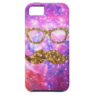 Gold Glitter Mustache Hipster Glasses Pink Nebula iPhone 5 Case