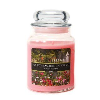 Mostly Memories Lucy's Garden 24 Ounce Lid Lites Soy Candle   Jar Candles