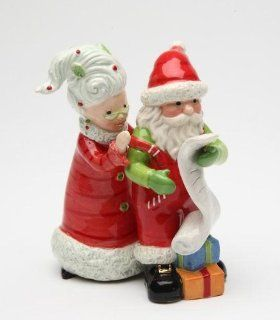 4 inch Mrs. Claus And Santa Claus Checking The List Salt And Pepper Kitchen & Dining