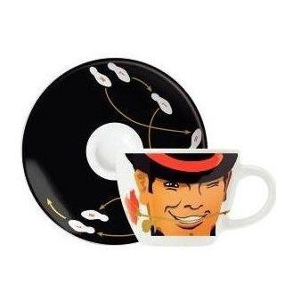 Espresso Coffee Mug and Saucer Set, My Little Darling, Casanova Face, Coffee Mug Set in Gift Box Kitchen & Dining
