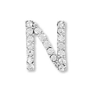 Alphabet Letter N Slide Pendant with Crystals Rhodium on Sterling Silver Nontarnish: Jewelry