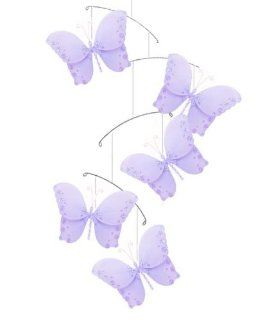 Butterfly Mobile Purple Twinkle Nylon Butterflies Mobiles Decorations   Decorate for a Baby Nursery Bedroom, Girls Room Hanging Ceiling Decor, Wedding Birthday Party, Bridal Baby Shower, Bathroom. Kids Childrens Decoration 3D Art Craft   Nursery Wall Decor