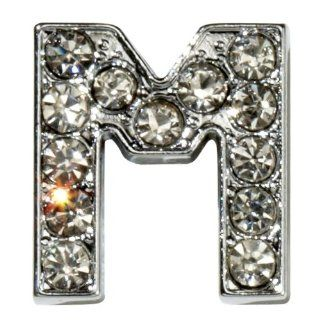 "Sugar N Vine Ice Crystal Covered Alphabet Letter ""M"" Slide Charm   Works with Slider Style Buckle Charm Bracelets!: Jewelry"